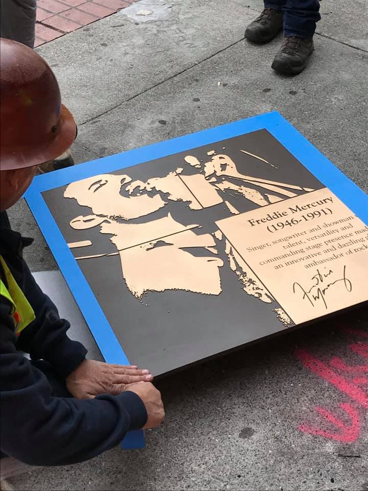 """The ultimate """"Queen"""" of music, Freddie Mercury, has his plaque installed this morning"""